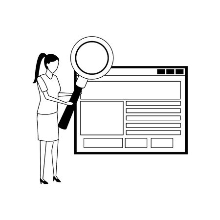 woman with magnifying glass and web interface over white background, vector illustration