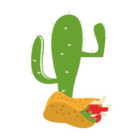 mexico culture and foods cartoons cactus and burrito vector illustrationgraphic design Ilustração