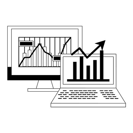 Online stock market investment computer with statistics symbols in black and white vector illustration 向量圖像