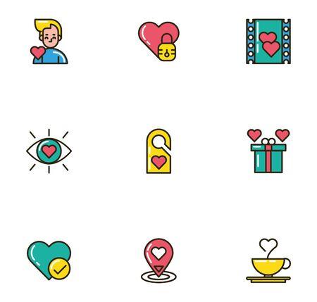 bundle of valentines day icons vector illustration design Ilustração