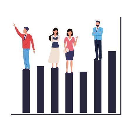 Executive business entrepreneur teamwork on statistics profit bars ,vector illustration graphic design. Illusztráció