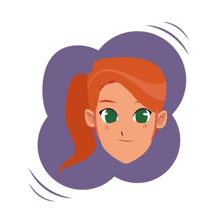 Young woman with hair tied face smiling cartoon on round colorful splash frame vector illustration graphic design.