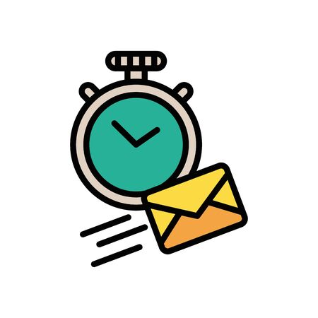 chronometer with envelope mail postal service vector illustration design