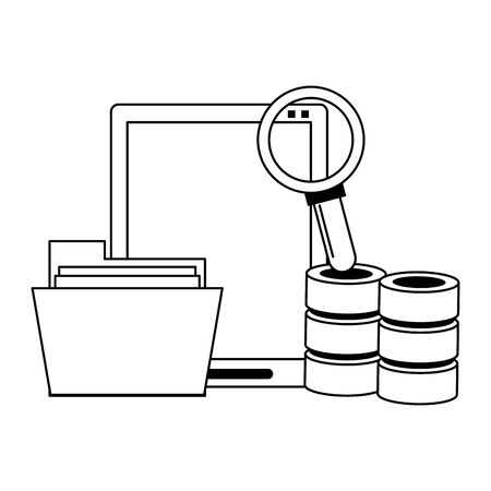 Office and business technology symbols tablet and servers with magnifying glass vector illustration graphic design