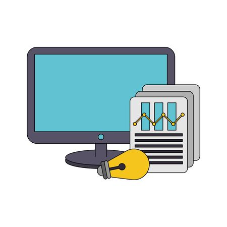 computer screen technology hardware working in business idea project cartoon vector illustration graphic design Ilustrace