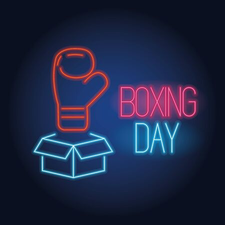 boxing day sale neon lights with box and glove vector illustration design 向量圖像
