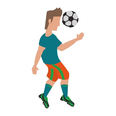 Soccer player kicking ball cartoon isolated vector illustration graphic design Illusztráció