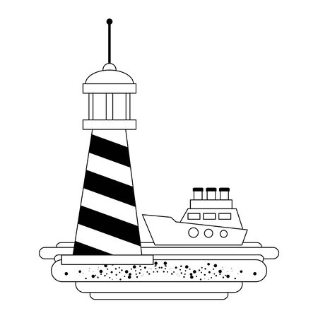 Summer light house in beach and ship cartoon vector illustration graphic design