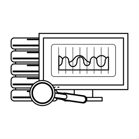computer screen technology hardware looking information in database graphics cartoon vector illustration graphic design Ilustrace