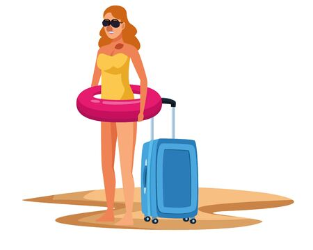 Young woman in summer time with float and luggage at beach vector illustration graphic design