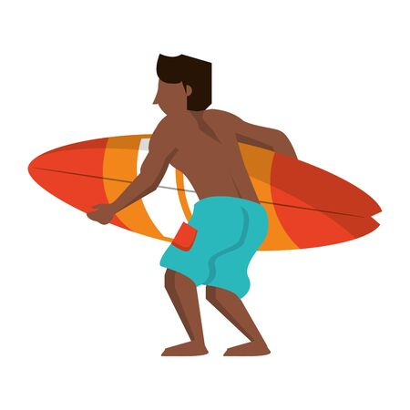 Young man with surf table cartoon vector illustration graphic design