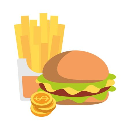 Fast food hamburger and french fries with coins vector illustration graphic design