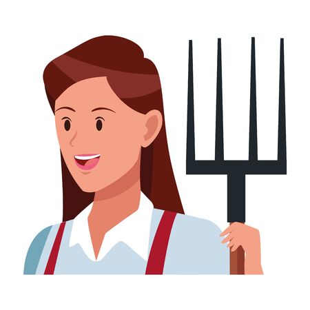 woman face with a rake avatar cartoon character vector illustration graphic design