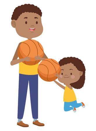 young father with daughter playing basketball vector illustration design Иллюстрация