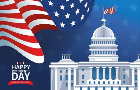 happy presidents day poster with usa capitol building and flag vector illustration design Illusztráció