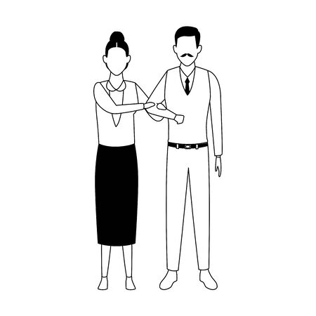 avatar old couple icon over white background, vector illustration