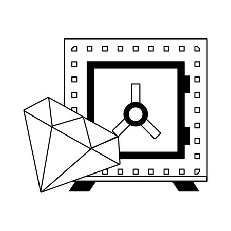 Strongbox and luxury diamond symbols in black and white vector illustration Çizim