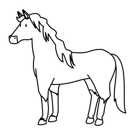 farm, animals and farmer horse icon cartoon in black and white vector illustration graphic design