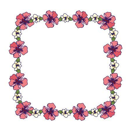 decorative floral frame over white background, colorful design, vector illustration Illusztráció