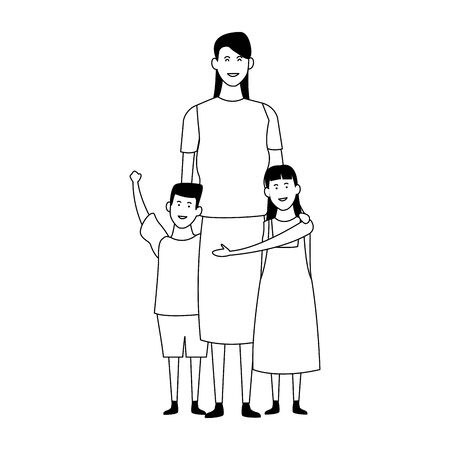 mother with her kids icon over white background, vector illustration Иллюстрация