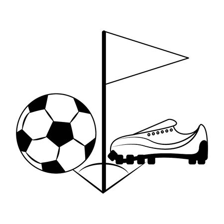 Soccer sport game ball boot and flag isolated vector illustration graphic design Иллюстрация