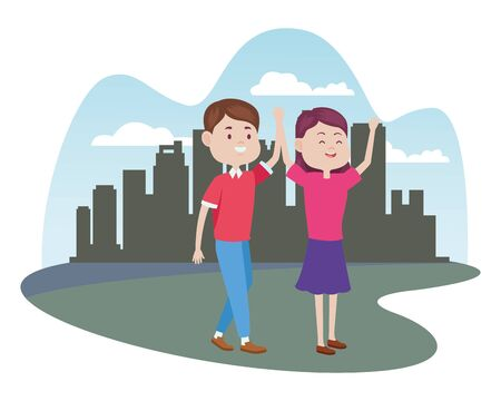 young couple characters in the city vector illustration design