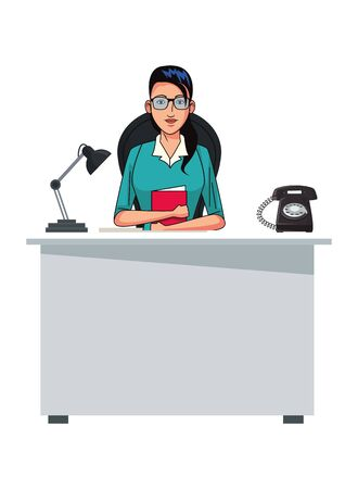 businesswoman wearing glasses and holding a book avatar cartoon character on desk with light and telephone vector illustration graphic design
