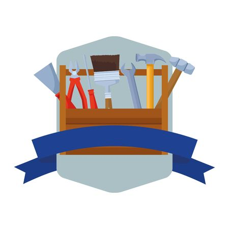 Construction tools and equipment toolbox cartoons emblem with blank ribbon banner vector illustration graphic design.