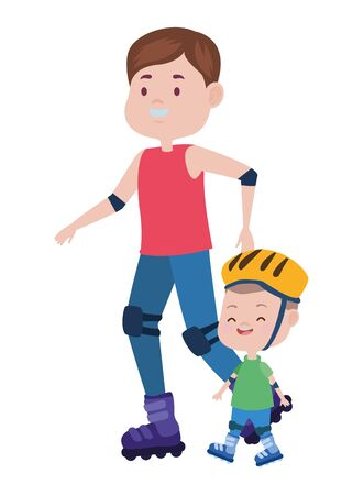 young father with son in skates vector illustration design