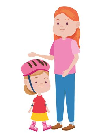 cute mother and daughter in skates vector illustration design