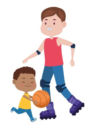 young father with son playing basketball vector illustration design Ilustrace