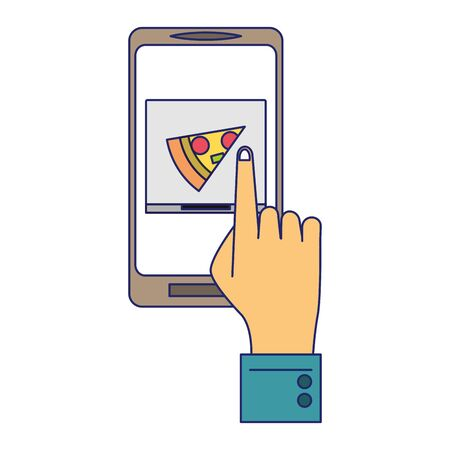 Online food order from smartphone hand touching pizza box on screen vector illustration graphic design