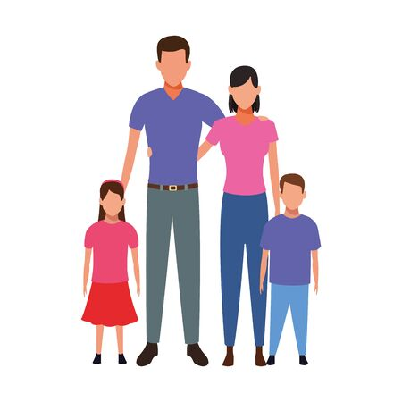 avatar traditional family icon over white background, vector illustration
