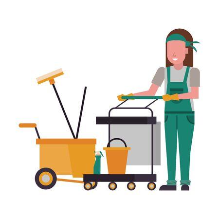 housekeeping woman worker with clean equipment vector illustration design Иллюстрация