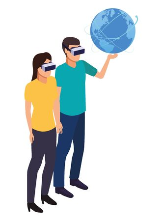 virtual reality technology, young couple living a modern digital experience with headset glassestouching world map cartoon vector illustration graphic design