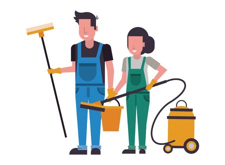 housekeeping workers couple with equipment characters vector illustration design