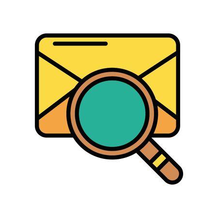 envelope mail with magnifying glass postal service vector illustration design