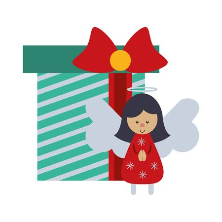 merry christmas gift with angel vector illustration design