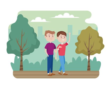 young men friends characters in the field vector illustration design Stock Illustratie