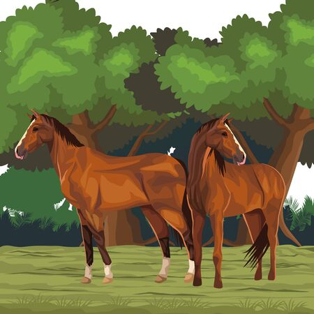 horse icon cartoon isolated wild landscape vector illustration graphic design