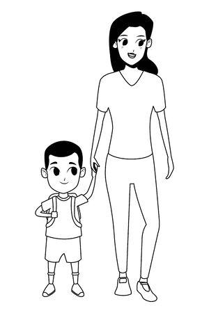Family single mother with daugther holding school backpack vector illustration graphic design Ilustração