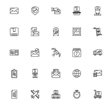 bundle of postal service icons vector illustration design 일러스트