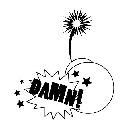 bomb with burning fuses and pop art design of damn word exclamation over white background, vector illustration Ilustração