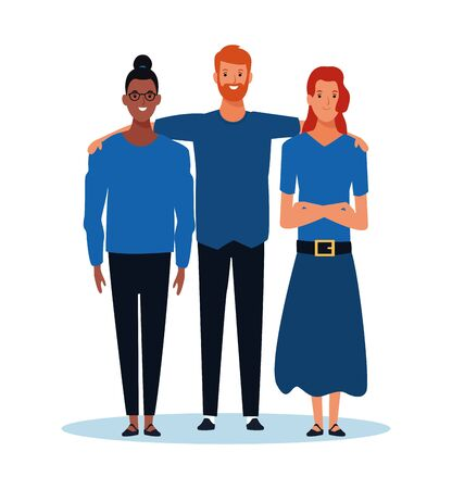 cartoon women and man standing over white background, colorful desgin. vector illustration