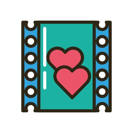 happy valentines day hearts in tape record vector illustration design Ilustração