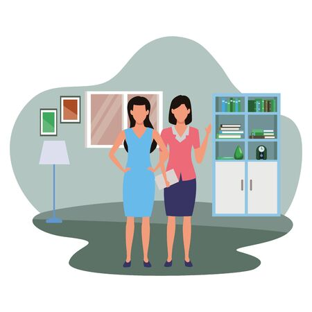 Two business partners working, executive entrepreneur teamwork inside house with furniture scenery vector illustration graphic design. Иллюстрация
