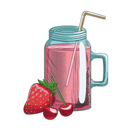 strawberry and cherries smoothie jar icon over white background, vector illustration