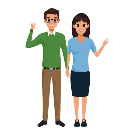 cartoon adult couple standing and waving icon over white background, vector illustration