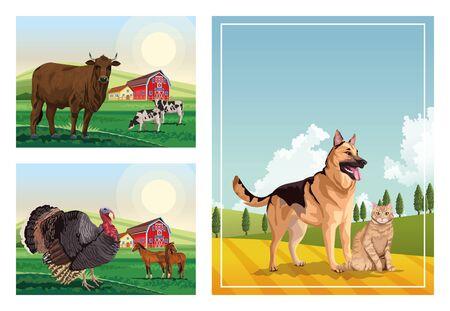 chien et chat avec des animaux de la ferme dans les scènes du camp conception d'illustration vectorielle