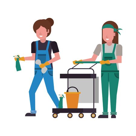 housekeeping female workers with equipment characters vector illustration design Иллюстрация